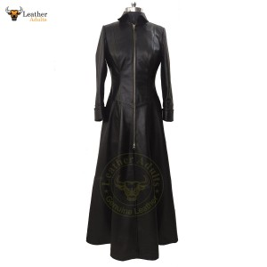 Womens Ladies Real Leather Long Black Leather Dress Gown Suit Gothic Trench Coat