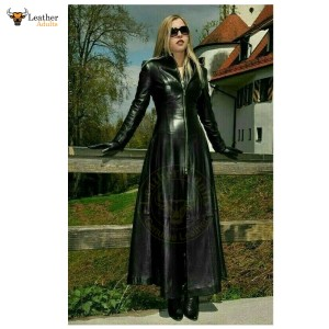 Womens Ladies Pure Black Leather Trench Steampunk Gothic Matrix Coat Jacket