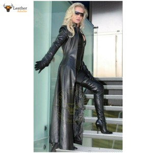 Womens Ladies Pure Black Nappa Leather Trench Steampunk Gothic Matrix Coat Jacket
