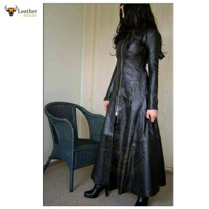 Womens Real Leather Long Black Leather Dress Gown Suit Gothic Trench Coat