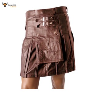 Men's Real Leather Brown Utility Cargo Kilt Choice of Length & Sizes