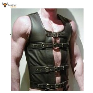 Men's Leather STEAMPUNK Waistcoat Vest Corset GOTH GAY Victorian