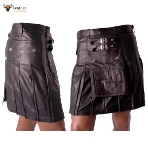 Men's Real Leather Black Utility Cargo Kilt Choice of Length & Sizes
