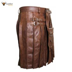 Brown Skipper Leather Beautiful Pleated Kilt & Sporran – K7 – BRW