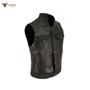 Black Leather Biker Style Waistcoat Vest Most Sizes Genuine Cow Leather