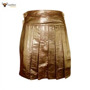 Brown LEATHER Fully Pleated Kilt – K2-BRW