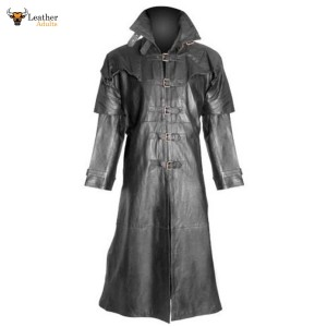 Ladies 100% Pure Leather Goth / Steampunk Gothic Van Helsing Matrix Trench Coat