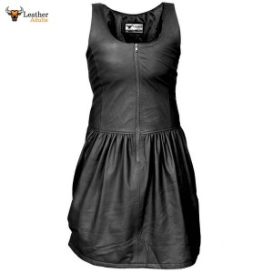Ladies GENUINE LAMBS LEATHER RED SEXY DRESS BLACK