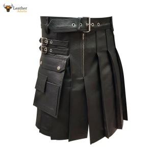 Leather Gladiator Pleated Kilt