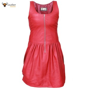 Ladies GENUINE LAMBS LEATHER RED SEXY DRESS RED