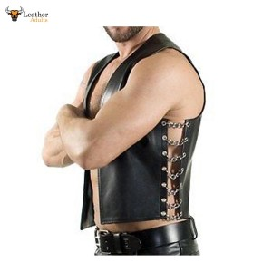 Superb Quality Cows Leather Side Chain Biker Style Waistcoat Vest Most Sizes