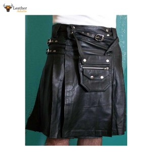 MEN'S GENUINE LEATHER KILT with SPORRAN Choice of Length and Size