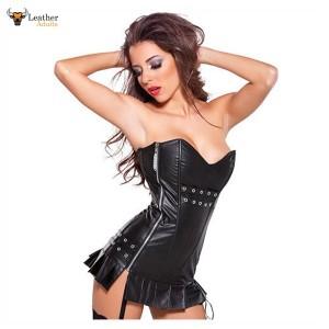 100% Genuine Leather Clubwear Nightclub Back Lace-up Vestidos Exotic Vinyl 100% Leather Strapless Black Sexy Club Dress