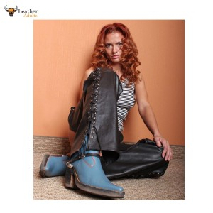 Women's PURE LEATHER CHAPS Biker Most Sizes Available