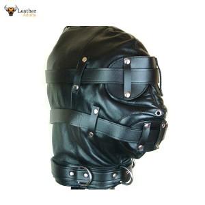GENUINE 100% LEATHER BONDAGE HOOD / MASK with MOUTH GAG & BLINDFOLD Gimp mask