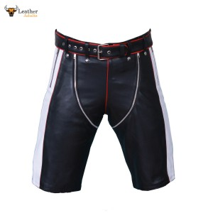 MENS REAL LEATHER BLACK WHITE and RED SHORTS Clubwear Genuine Cow Leather