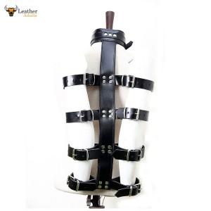 Genuine Black Leather Arm And Neck Binder Bondage Restraint Set for Adult Play BDSM