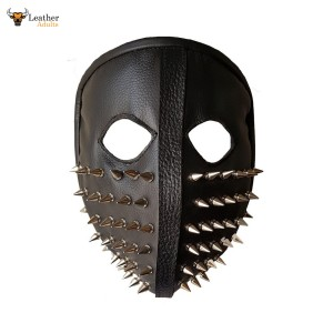 Men Punk Biker Genuine Leather Full face spike Mask Masquerade Black Cosplay