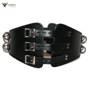 Men's Heavy Duty Cow Leather Male LOCKABLE Corset Cincher Bondage Waist Belt