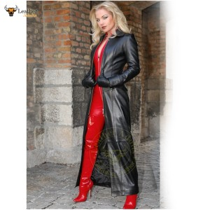Womens Ladies Real Nappa Leather Long Black Leather Dress Gown Suit Gothic Trench Coat