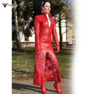 Womens Ladies Real Nappa Leather Long Red Leather Dress Gown Suit Gothic Trench Coat