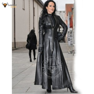 Womens Ladies Black Pure Lambskin Nappa Leather Long Leather Dress Gown Suit Gothic Trench Coat