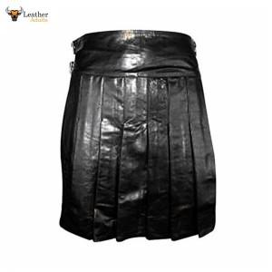 Black LEATHER Fully Pleated Kilt – K2 – BLK