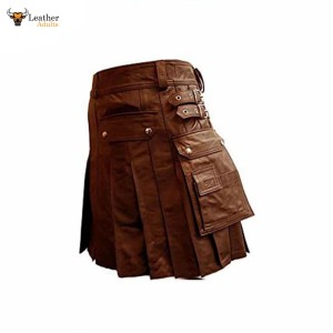 BROWN Leather Gladiator Pleated Kilt – K5 – BRW
