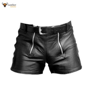 MEN'S 100% GENUINE LEATHER SHORTS with DOUBLE ZIPPER