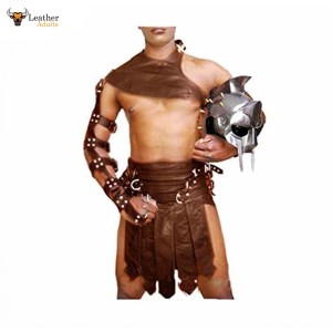 BROWN Leather Gladiator Kilt Set – K3 – BRW