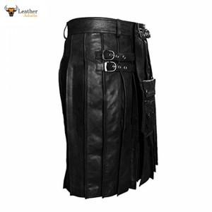 Black LEATHER Pleated Kilt & Sporran – K7 – BLK