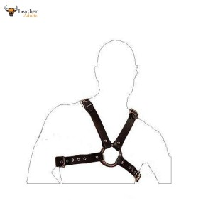 Mans GENUINE LEATHER FULL CHEST HARNESS GAY INTEREST