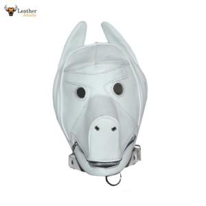 White Quality Leather Dog Puppy Bondage Hood / Mask & Mouth Gag NEW Fetish