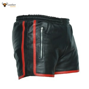 MENS REAL LEATHER BLACK and RED SHORTS Clubwear Genuine Cow Leather