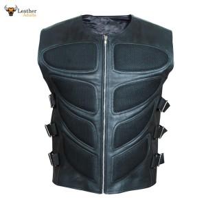 Black Leather Biker Style Waistcoat Vest Most Sizes VEST 19