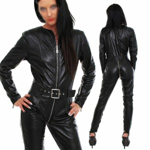 New Ladies Genuine leather catsuit Romper Jumpsuit full sleeves three way zip fitted