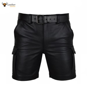 MENS 100% GENUINE LEATHER CARGO SHORTS with SIX POCKETS and BELT