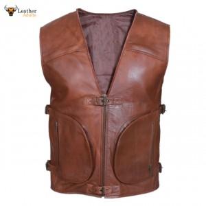 BROWN Mens Real Leather Gilet Biker Cut Waistcoat Vest Most Sizes VEST 21
