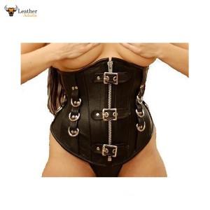 Black Real Leather Steel Boned UNDERBUST CORSET CINCHER Bondage Style Mistress