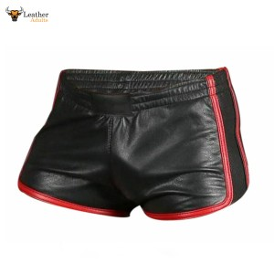 MEN'S 100% GENUINE LAMBS LEATHER SILKY SOFT BLACK AND RED BOXER SHORTS *NEW*