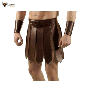Mens Sexy Real Leather Brown Kilt Roman Gladiator Kilt Set Gay Club Wear LARP