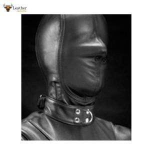 Real LEATHER BONDAGE Lockable Hood Hand Constructed Gimp mask