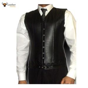 Men's Lambs Leather Steel Boned STEAMPUNK Waistcoat Vest Corset GOTH Victorian