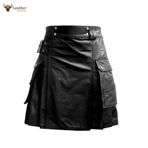 Leather Black Utility Kilt Twin CARGO Pockets Pleated with Twin Buckles Men's