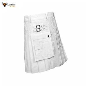 WHITE Leather Gladiator Pleated Kilt – K5 – WHT