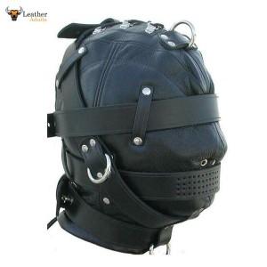 Genuine Black Leather Bondage Mask Gimp Hood BDSM Mask Unisex