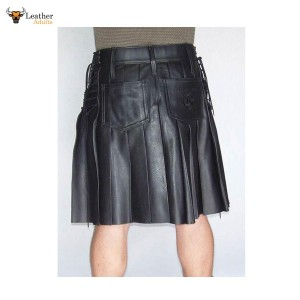 Men's Genuine Leather Side Laced Kilt Choice of Length & Sizes