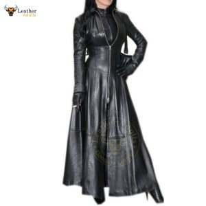 Womens Ladies Real Black Nappa Leather Trench Steampunk Gothic Matrix Coat Jacket