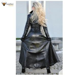 Sexy Lady Pure Black Nappa Lambs Sheep Leather Trench Steampunk Gothic Matrix Coat Jacket