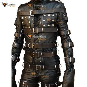 Mens Bondage Suit Black LEATHER Heavy Duty Restriction Catsuit with Hood LARP